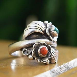 Other - Large 9.5 Unisex Vintage Turquoise Red Coral Ring
